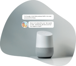 Mockup dell'agente conversazionale con Google Assistant